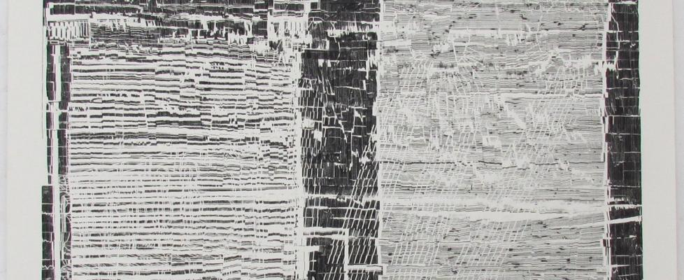 a new black and white drawing by julie merriman called Compiler VIII