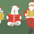 Santa and friends reading